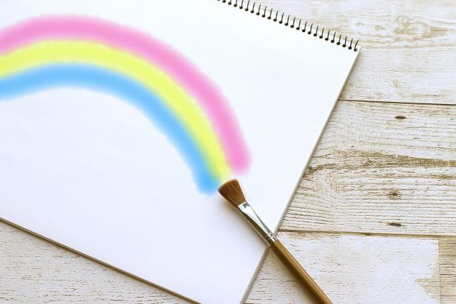水彩画-虹-レインボー